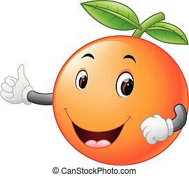 cute orange with face