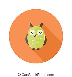 Cute Owl Flat Icon over Orange