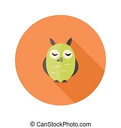 Cute Owl Flat Icon over Orange