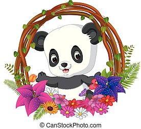 cute panda in root of tree frame with flower