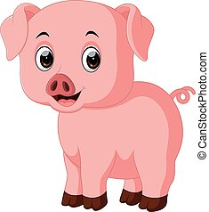 Cute pig cartoon - illustration of Cute pig cartoon