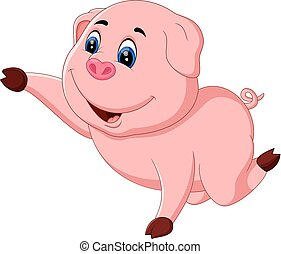 Cute pig cartoon posing