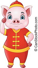 Cute pig cartoon wearing Chinese traditional costume