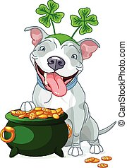 Pit bull celebrates Saint Patrick D - Illustration of cute...