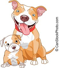 Pit-bull mother and cub - Illustration of cute Pit-bull...