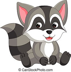cute raccoon cartoon - illustration of cute raccoon cartoon