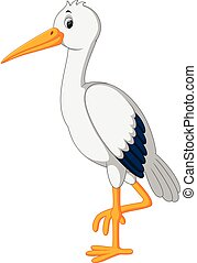 cute stork cartoon - illustration of cute stork cartoon