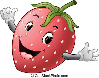 cute strawberry with face