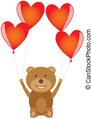 Bear with red heart balloons