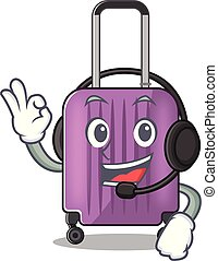Illustration of cute travel suitcase cartoon character with headphone