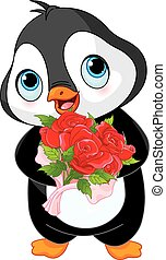 Illustration of Cute Valentine day penguin