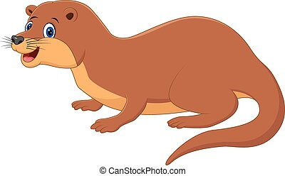 Illustration of Cute Weasel Animal - vector illustration of...