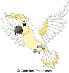 Cute white parrot flying