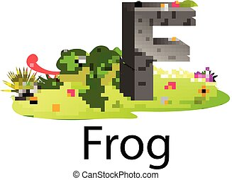 cute zoo animal alphabet F for frog with real animal