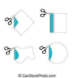 cutting paper - illustration of cutting paper on white...
