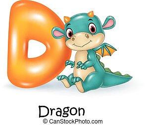 Illustration of D letter for Dragon