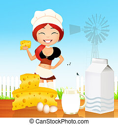 dairy product - illustration of dairy product