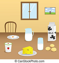 Illustration of dairy products on a