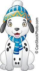 Dalmatian cartoon dog wearing a winter hat and scarf