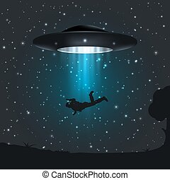 Illustration of dark night a UFO abducts human.