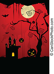 scary halloween night - illustration of dark scary halloween...