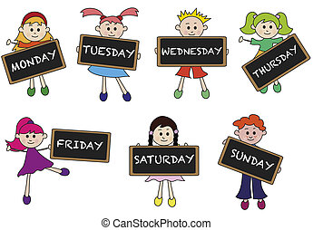 days of week - illustration of days of week with children