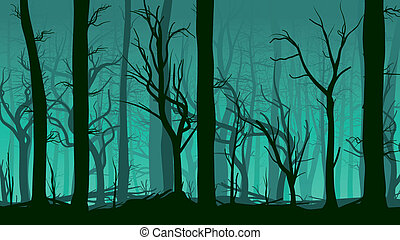 Illustration of deadwood forest. - Vector horizontal...