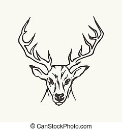 illustration of deer. Black and white style