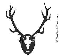 horns - illustration of deer horns garnished as trophy