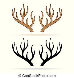 deer horns on white background