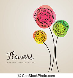 illustration of delicate flowers made in lines and dots circles, vector illustration