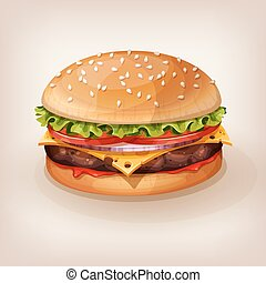 Illustration of delicious burger
