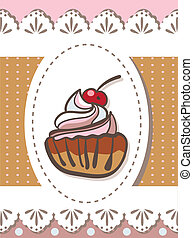 Illustration of delicious cupcake sketch on brown background