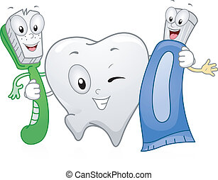 Illustration of Dental Products Hanging Together