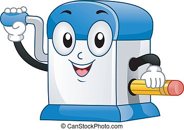 Sharpener Mascot - Illustration of Desktop Pencil Sharpener...