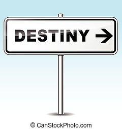 Illustration of destiny sign on sky background