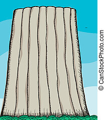 Illustration of Devil's Tower National Monument in Wyoming, United States.