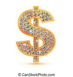 diamond dollar icon - illustration of diamond dollar icon on...