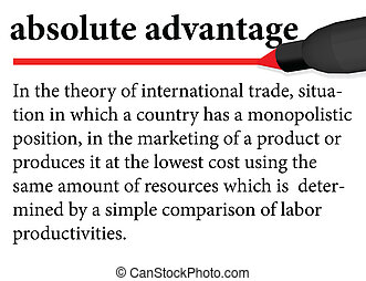 "Illustration of dictionary definition of the term "" absolute advantage "" isolated on white background"