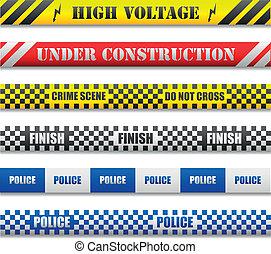 illustration of different caution lines