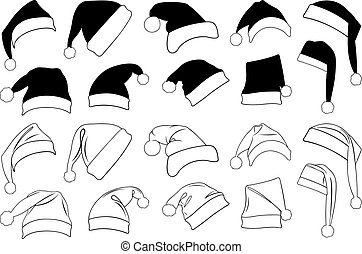 Illustration of different Christmas hats