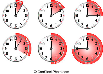clocks - illustration of different clocks for typical time
