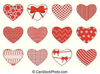 Illustration of different hearts
