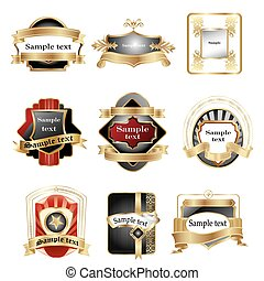 illustration of different logos with ribbons on white background