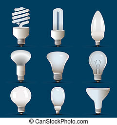 different shapes of cfl and bulb - illustration of different...