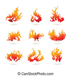different shapes of fire
