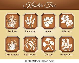 Illustration of different tea varieties as vector - teabag ...