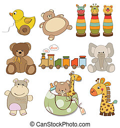 illustration of different toys item