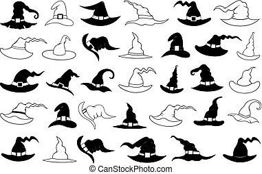 Illustration of different witch hats