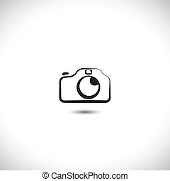 Illustration of digital modern camera with flash icon symbol. The graphic shows the photographic equipment in black and white styled like a doodle or hand drawing